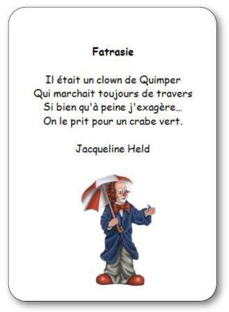 Poésie sur un clown de Quimper Fatrasie de Jacqueline Held, poésie fatrasie