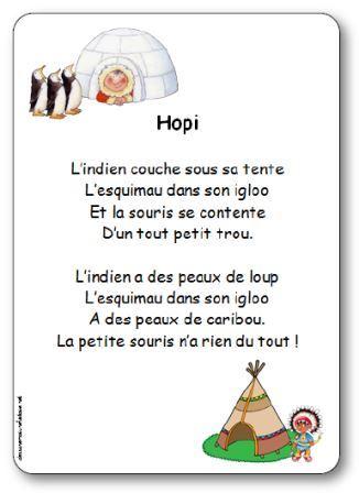 Comptine Hopi, comptine sur les indiens