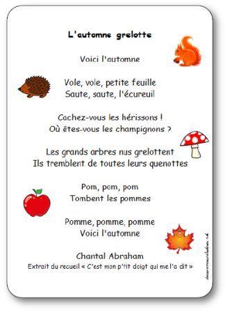 Häufig Comptine L'automne grelotte de Chantal Abraham - Paroles  EP27
