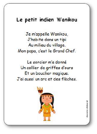 Comptine Le petit indien Wanikou, comptine petit indien wanikou