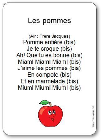 comptine les pommes, Comptine enfant sur les pommes, comptine pomme maternelle, comptine ps, ms, gs sur les pommes