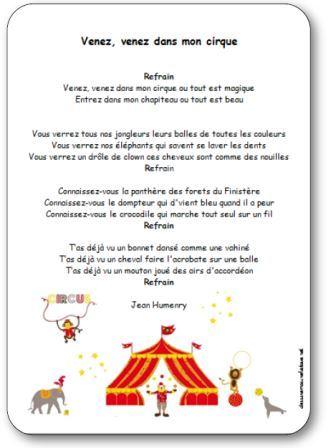 Chanson Venez venez dans mon cirque