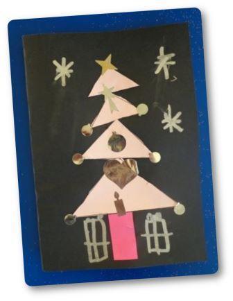 Carte de Noël collage en forme de sapin