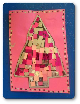 Carte de Noël sapin collage, cartes de noël maternelle