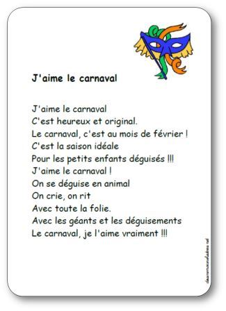 Comptine J'aime le carnaval