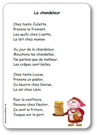 Comptine La chandeleur, chez tante Juliette