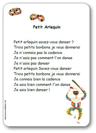 Comptine Petit Arlequin savez vous danser