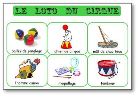 Loto du cirque, loto cirque maternelle