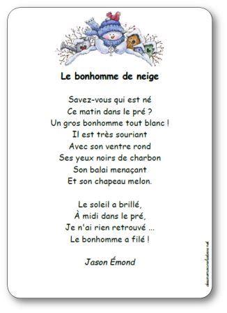 poésie bonhomme de neige, Poésie Le bonhomme de neige Jason Emond