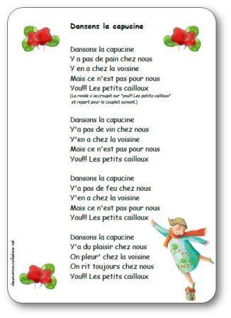 paroles dansons la capucine, Ronde, jeux dansés maternelle, tresse et farandole, Ronde Dansons la capucine