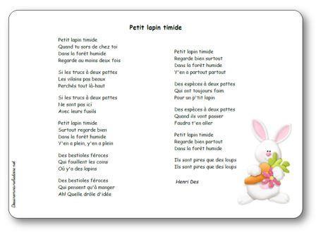 Chanson Petit lapin timide Henri Des