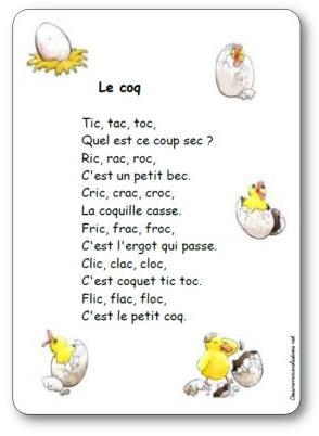 Comptine Le coq, comptine coq
