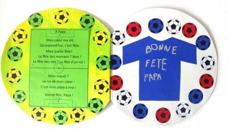 Carte pour la fête des pères maternelle en forme de ballon de football, carte fête des pères maternelle