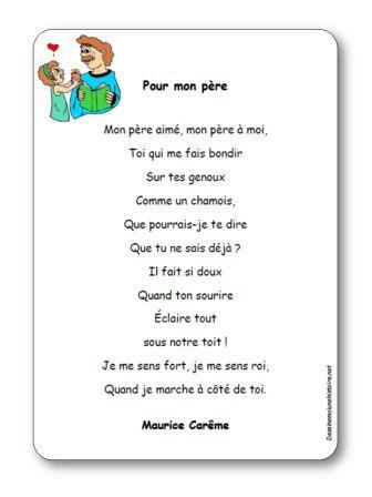 Poésie Pour mon père de Maurice Carême, poesie pour mon père