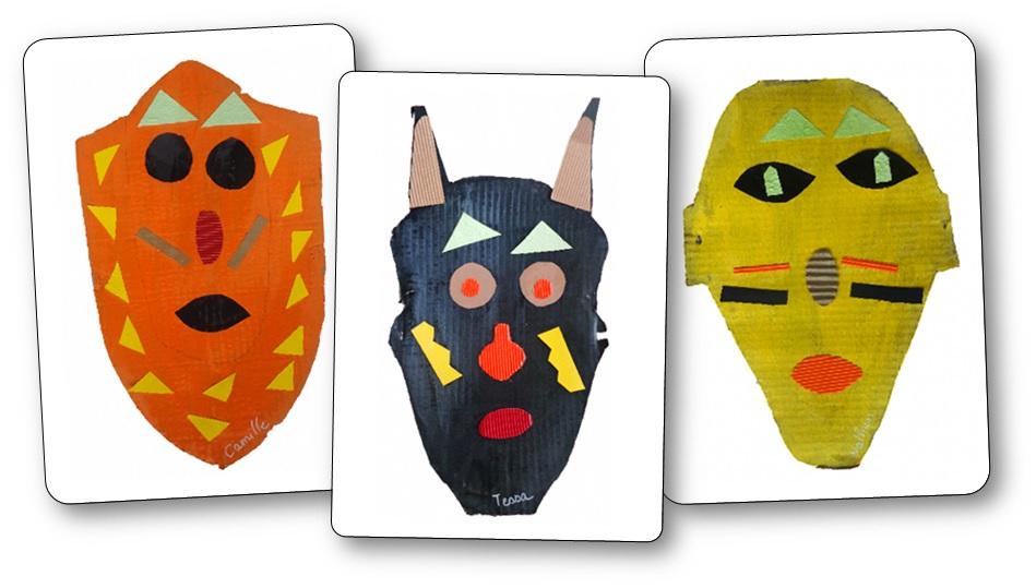 Masques africains en carton