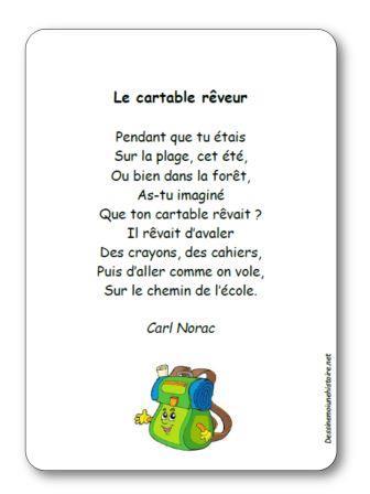 Poésie Le cartable rêveur de Carl Norac