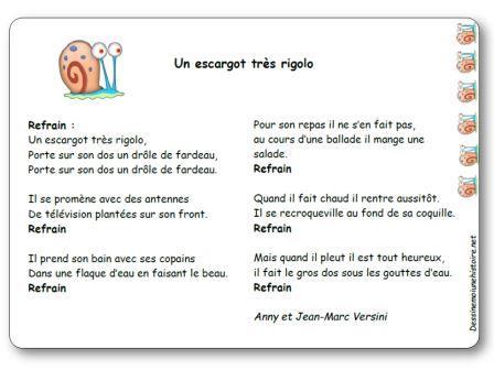 Chanson Un escargot très rigolo d'Anny et Jean-Marc Versini