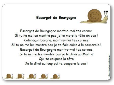 Comptine escargot de bourgogne paroles illustr es imprimer escargot de bourgogne - Cuisiner les escargots de bourgogne ...
