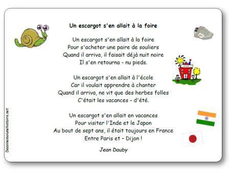 Comptine Un escargot Jean Dauby, Un escargot s'en allait à la foire