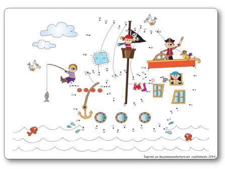 Jeu relier les points de 1 à 62 bateau de pirates, relier les points pirates
