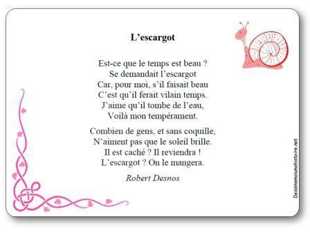 Poésie L'escargot de Robert Desnos, L escargot Robert Desnos