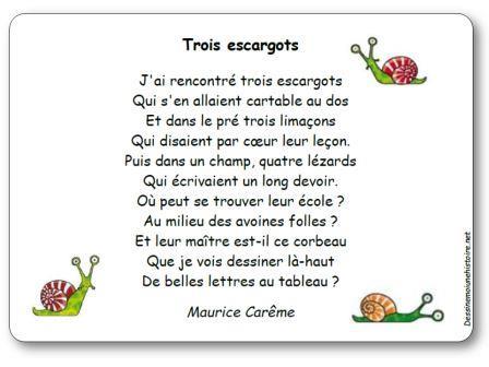 Poésie Trois escargots de Maurice Carême, Trois escargots Maurice Carême