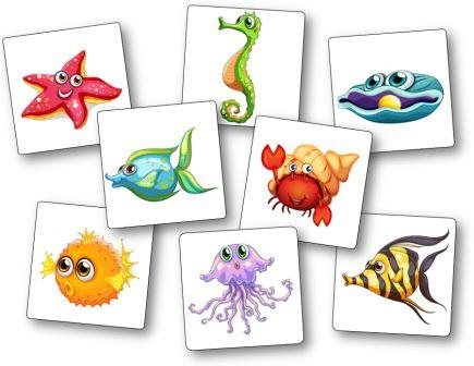Jeu Mémory poissons et crustacés, memory poisson