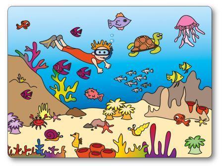 Jeu de topologie sur le thème de la mer et des poissons