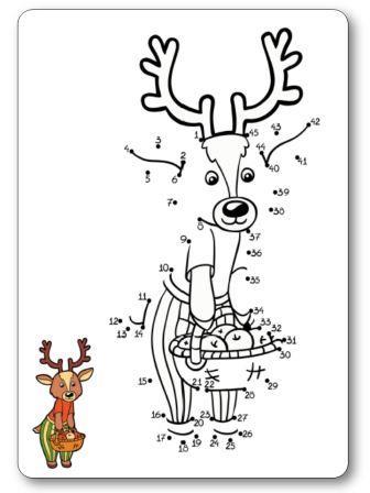 Jeu des points à relier de 1 à 45 le cerf de Noël