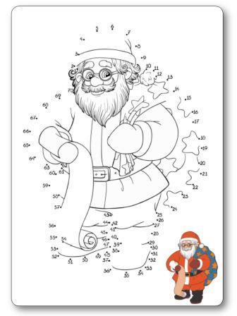 Jeu des points à relier de 1 à 70 le père Noël et sa hotte