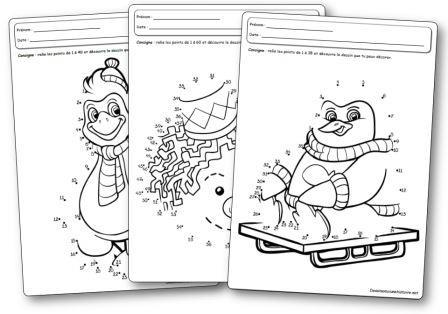 Fiches d activités Jeux des points à relier de l hiver
