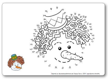 Points à relier 1 à 60 Tête bonhomme de neige hiver maternelle