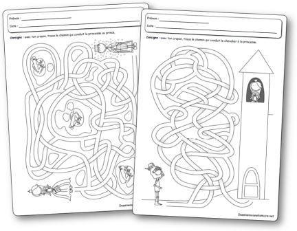 Fiches d activités Labyrinthes de princesses