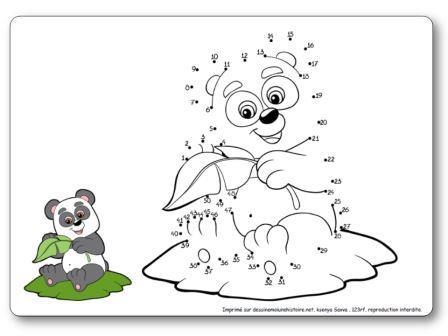 Jeu de points à relier 1 à 50 Le panda, points à relier asie