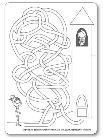 Labyrinthe Chevalier et princesse, labyrinthe princesses maternelle