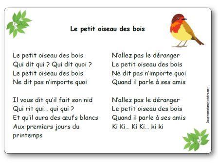 Comptine Le petit oiseau des bois