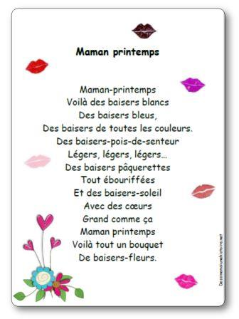 Poesie Maman Printemps Illustree A Imprimer