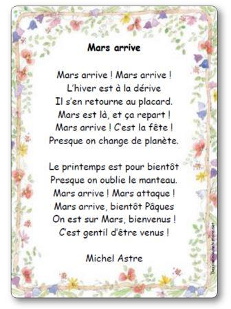Poésie Mars arrive de Michel Astre