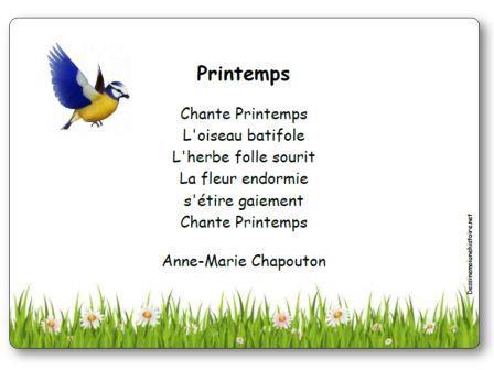 Poésie Printemps Anne Marie Chapouton, Poésie Printemps Chapouton