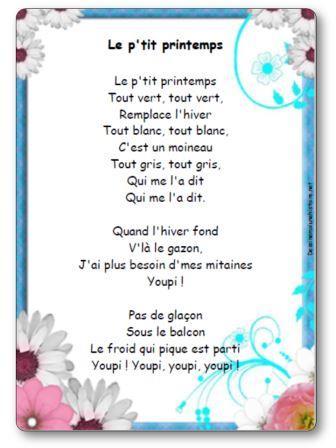 Comptine Le Ptit Printemps Paroles Illustrées Le Ptit