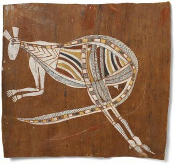 Reproduction oeuvre aborigène Kangourou femelle Irvala