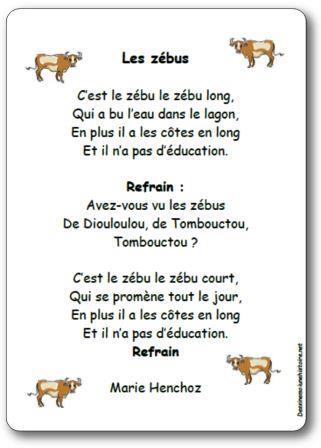 Chanson Les zébus de Marie Henchoz