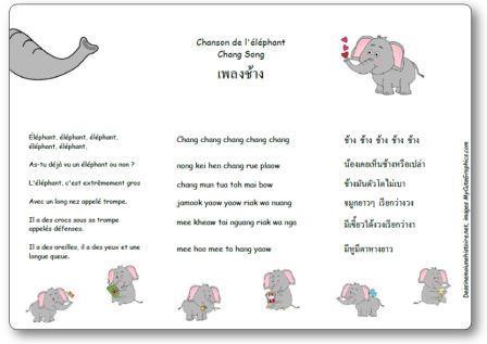 Chanson de l'éléphant Chanson traditionnelle thaïlandaise Chang song