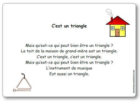 Comptine C'est un triangle, comptine triangle