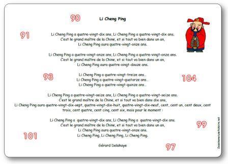 Comptine Li cheng ping de Gérard Delahaye, Li Cheng Ping paroles