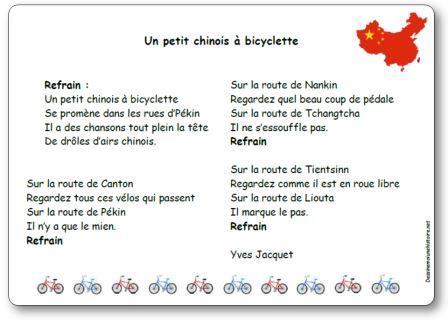Comptine Un petit chinois à bicyclette Yves Jacquet
