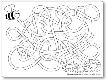 Labyrinthe Abeille et fleurs, labyrinthe printemps