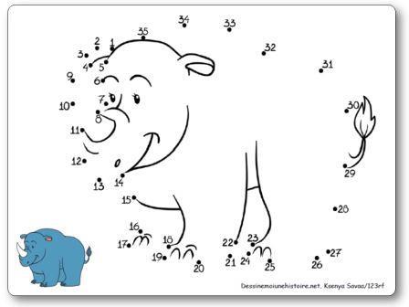 Points à relier 1 à 35 Rhinocéros