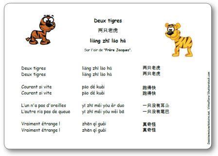 Chanson chinoise Deux tigres 两只老虎, comptine chinoise deux tigres