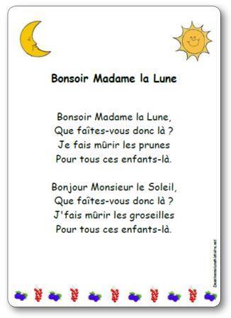 Comptine Bonsoir Madame la Lune Bonjour Monsieur le Soleil